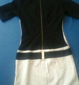 Платье комбинированое кожзам