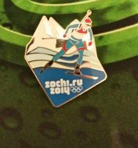 """Значок """"Биотлон"""" Sochi2014г. На грудь"""