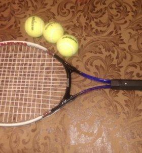 Ракетка для тенниса +3 мячика