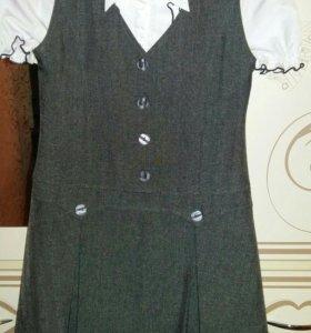 Школьный сарафан с блузкой.