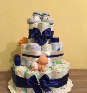 Торт из памперсов для новоржденного
