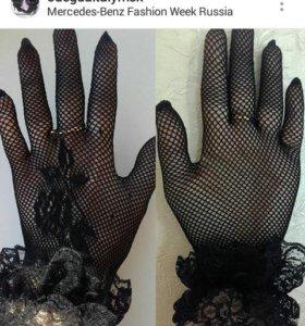 Перчатки новые сетка гипюр кружева черные м стрейч