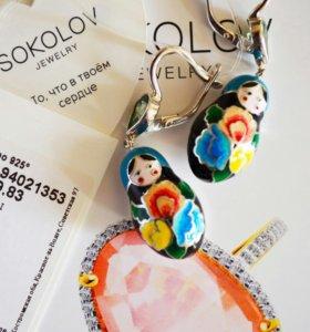 Серябрянные сережки-матрежки sokolov