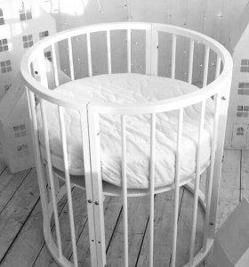 Круглая кроватка 6в1 из массива