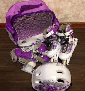 Роликовые коньки детские (для девочки) в комплекте
