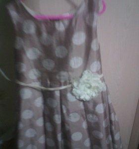 Летнее платье на подкладе.На рост 128 см.