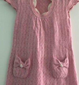 Вязаное платье нежно-розовое бу