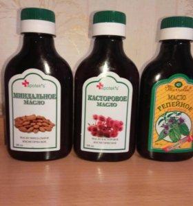Касторовое, репейное и миндальное масло, 100 мл.