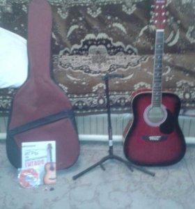 Гитара ( 6струн ) новая  + подставка+чехол + книга