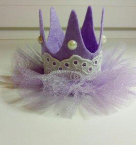 Корона повязочка для девочки фиолет