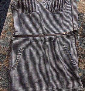 Платье в полоску из плотного материала