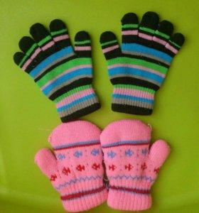 Варежки перчатки детские
