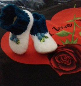 """""""Голубички"""" - валяные носочки"""