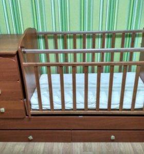 Кровать детская с комодом +матрас