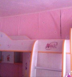 Кровать-чердак(+комп.стол+шкаф д/одежды)