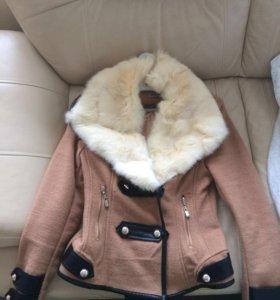 Курточка с натуральным мехом кролик