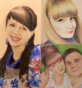 Портреты рисунки на заказ