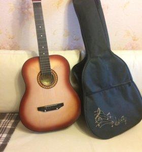 Новая Акустическая Гитара с чехлом
