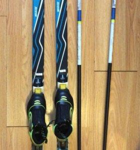 Лыжи, ботинки, палки