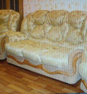 Мягкая мебель- диван и 2 кресла. Диван расклад-ся