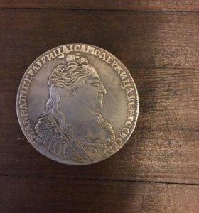 Царская  серебренная монета 1736год