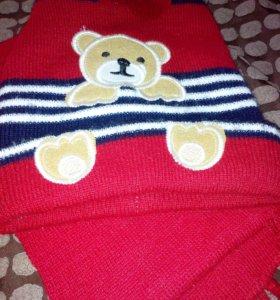 Демисезонная шапка с шарфом