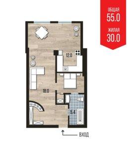1 комнатная квартира ул.Красносельская, 9а