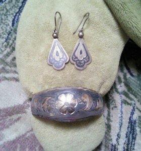 Браслет и серьги Кубачинское серебро