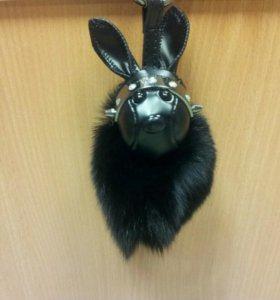 Брелок кролик кожаный меховой новый