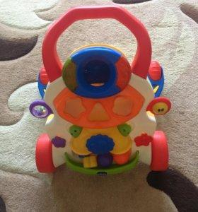 Каталка ходунки музыкальная игрушка chicco