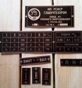 Таблички на токарный станок