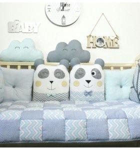Комплект в кроватку с пандами