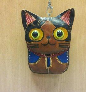Кожаный кошелек, клатчик, ключница кошка новый