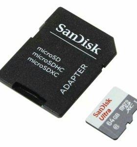 Новая карта памяти Micro SD 64GB, class 10 SanDisk