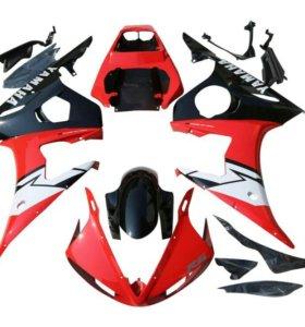 Комплект пластика Yamaha YZF-R6 03-05 красно-белый