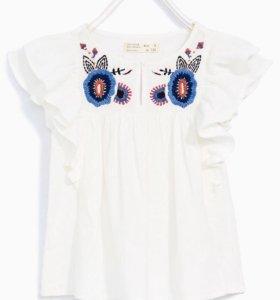 Рубашка с вышивкой и воланами Zara Girls, 164