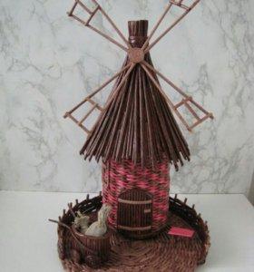 Мельница плетеная интерьерная подарочная