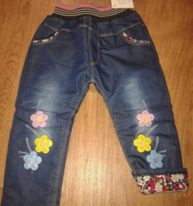 Новые джинсы на синтепоне и трикотажном подкладе