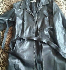 Кожаный итальянский плащ пальто