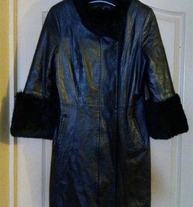Пальто из натуральной кожи, с мехом кролика