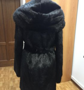 Шуба чёрная норковая с капюшоном