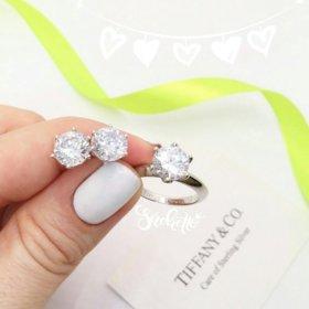 Набор серебряное кольцо и пусеты на 6 лапках