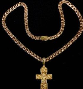 Золотая цепь с крестом 103 грамма (Бисмарк, 585)