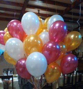 Букет 50 гелиевых шаров с металлическим блеском