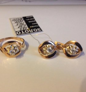 Комплект 585 серьги и кольцо