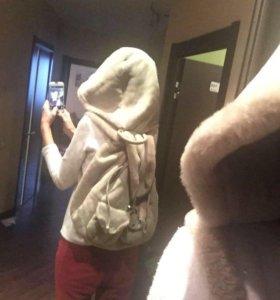 Рюкзак - дублёнка- капюшон
