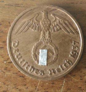 3й рейх,Германия, монета 2 пфенинга