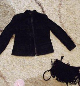 Стильная фирменная курточка из натуральной замши