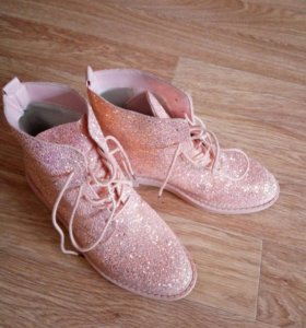 Ботинки розовые в блестках