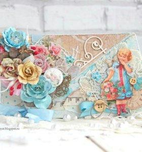 """Конверт для денежного подарка """"Цветочный сад"""""""
